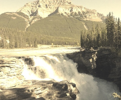 Athabasca Falls is a waterfall in Jasper National Park approximately 30 kilometres south of the townsite of Jasper, Alberta - Canada. A powerful, picturesque...