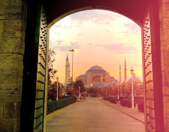 by samirdiwan on Flickr.Hagia Sophia Mosque seen from the windows of the Blue Mosque in Istanbul, Turkey.