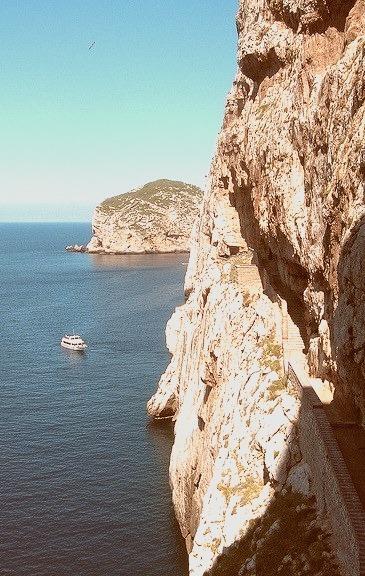 Stairs to Grotta di Nettuno, Sardinia, Italy