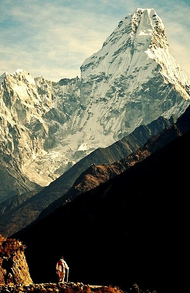 Hiking above Namche, with Ama Dablam in the background, Nepal