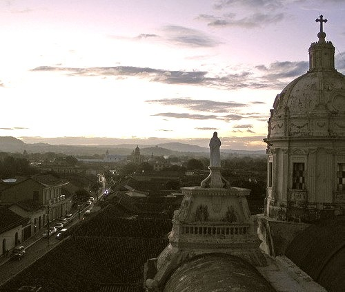View from Iglesia la Merced at dusk in Granada, Nicaragua