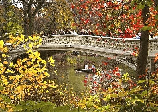 Bow Bridge Fall, Central Park in New York, USA