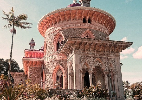 The romantic neo-gothic palace of Monserrate in Sintra, Portugal