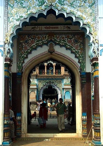The main entrance of the Janaki Temple in Janakpur, Nepal