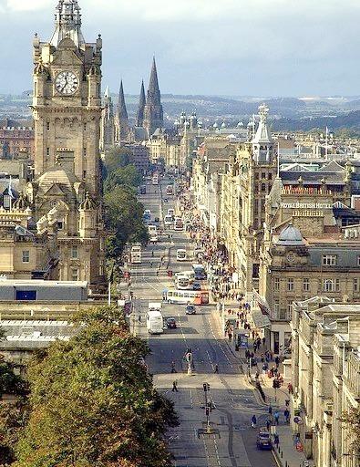 The Princes Street in Edinburgh, Scotland